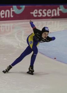 Sabien Wijsman tijdens haar wedstrijd in Thialf
